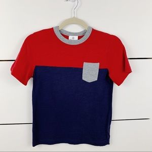 HANNA ANDERSSON Colorblock Pocket Tee Red Navy 130